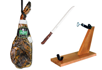 PROMO APRIL – Pata negra Spanish shoulder ham + ham holder + Arcos knife 64€