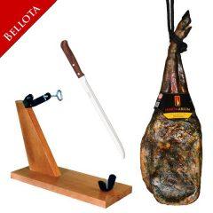 Summer Deal: Bellota pata negra shoulder ham 5.750 Kg+  ham holder  + knife – 112€