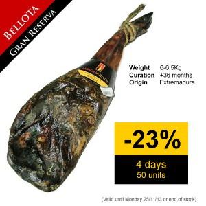 Discount on the Bellotas iberico pata negra shoulder ham