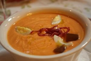 salmorejo cold soup ham